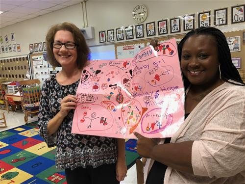 Ms. Phillips and Ms. Miller with a card made by Miller's class 30 years ago