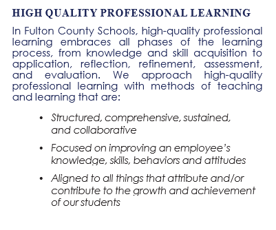 High Quality Professional Learning